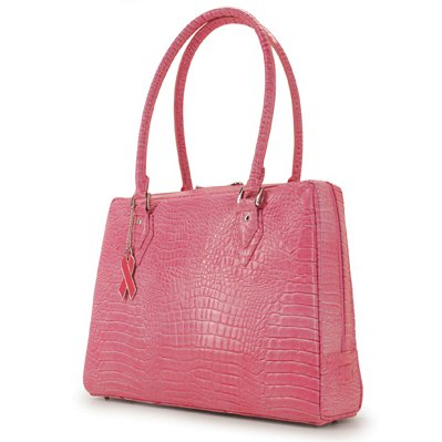 Pink Faux Crocodile Komen Milano Laptop Case & Tote Bag by Mobile Edge