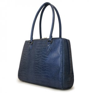 Blue Faux Crocodile Milano Laptop Case & Tote Bag by Mobile Edge