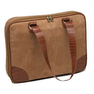"Camel (Tan) Faux Suede Slim-Line 17"" Widescreen Laptop Bag by Mango Tango"