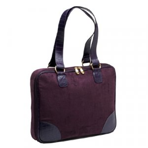 "Eggplant (Dark Purple) Faux Suede Slim-Line 17"" Widescreen Laptop Bag by Mango Tango"
