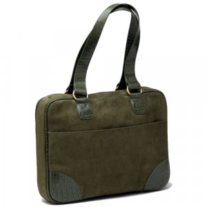 """Olive (Green) Faux Suede Slim-Line 17"""" Widescreen Laptop Bag by Mango Tango"""