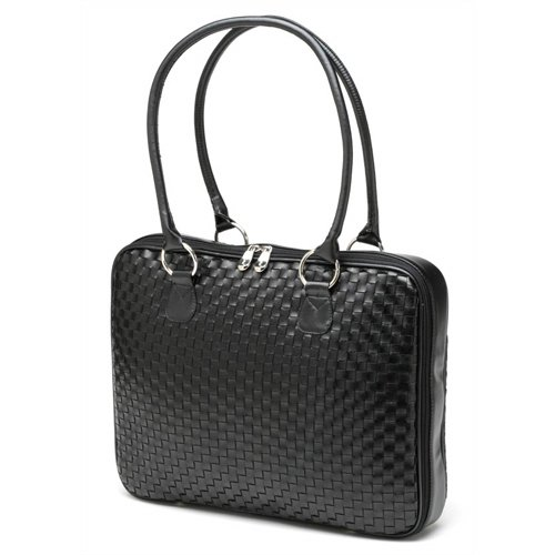 "Black Woven Faux Leather Slim-Line 17"" Widescreen Laptop Bag by Mango Tango"