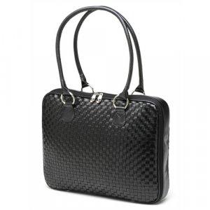 "Black Woven Faux Leather Slim-Line 17"" Widescreen Laptop Bag by Mango Tango"