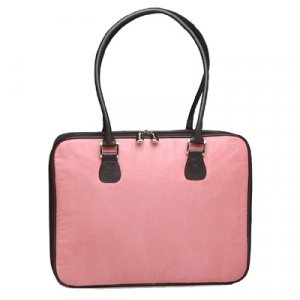 Pink Faux Suede Laptop Bag by Mango Tango