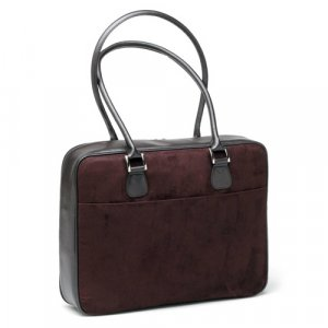 Chocolate (Dark Brown) Faux Suede Laptop Bag by Mango Tango