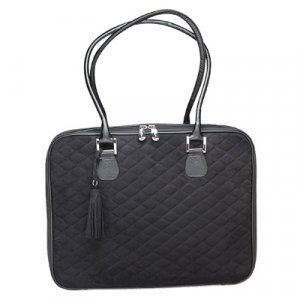 Black Quilted Faux Suede Laptop Bag by Mango Tango