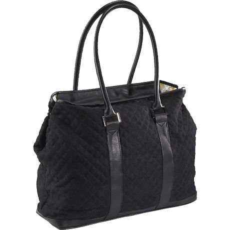 Black Quilted Medium French Tote with Computer Sleeve Insert