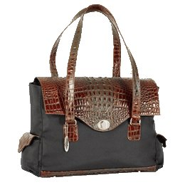 The Ives Laptop Bag in Brandy Leather (Brown Mock Croc) by Frances & Grace