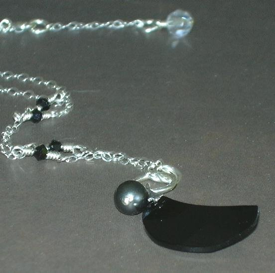 After Midnight Swarovski Crescent Moon Earrings and Necklace Set