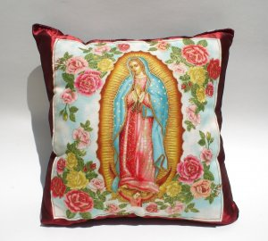 Mexican Virgin Mary Guadalupe throw Pillow rockabilly