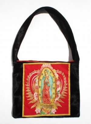 Guadalupe, Virgin Mary- Dia De Los Muertos Mexican Art Purse w/pouch inside