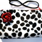Dalmation faux fur pin-up wallet wristlet with rose rockabilly w/zipper Big enough 4 Make-up