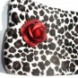 Leopard faux fur pin-up wallet wristlet with rose rockabilly w/zipper Big enough 4 Make-up