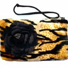 Tiger faux fur pin-up wallet wristlet with rose rockabilly w/zipper Big enough 4 Make-up