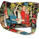 Frida Kahlo Garden Art Mexican Large Messenger Purse w/adjustable handles
