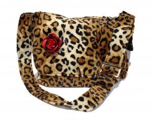 Leopard faux w/Flower Large Diaper bag, Messenger Purse w/adjustable handles