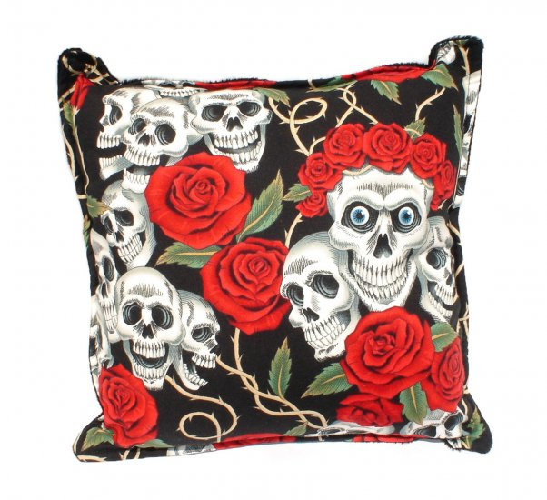 Skull & Rose Day of the Dead -Dia De Los Muertos throw Pillow rockabilly