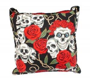 Skull & Rose Day of the Dead -Dia De Los Muertos throw Pillow rockabilly