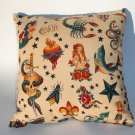 Tattoo Art throw Pillow rockabilly, novelty.pin-up.12x12