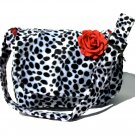 *  Dalmation faux fur w/rose Large Diaper bag, Messenger Purse w/adjustable handles