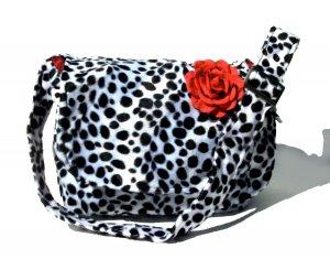 *  Dalmation faux fur w/rose Large Diaper bag, Messenger Purse w/adjustable handles