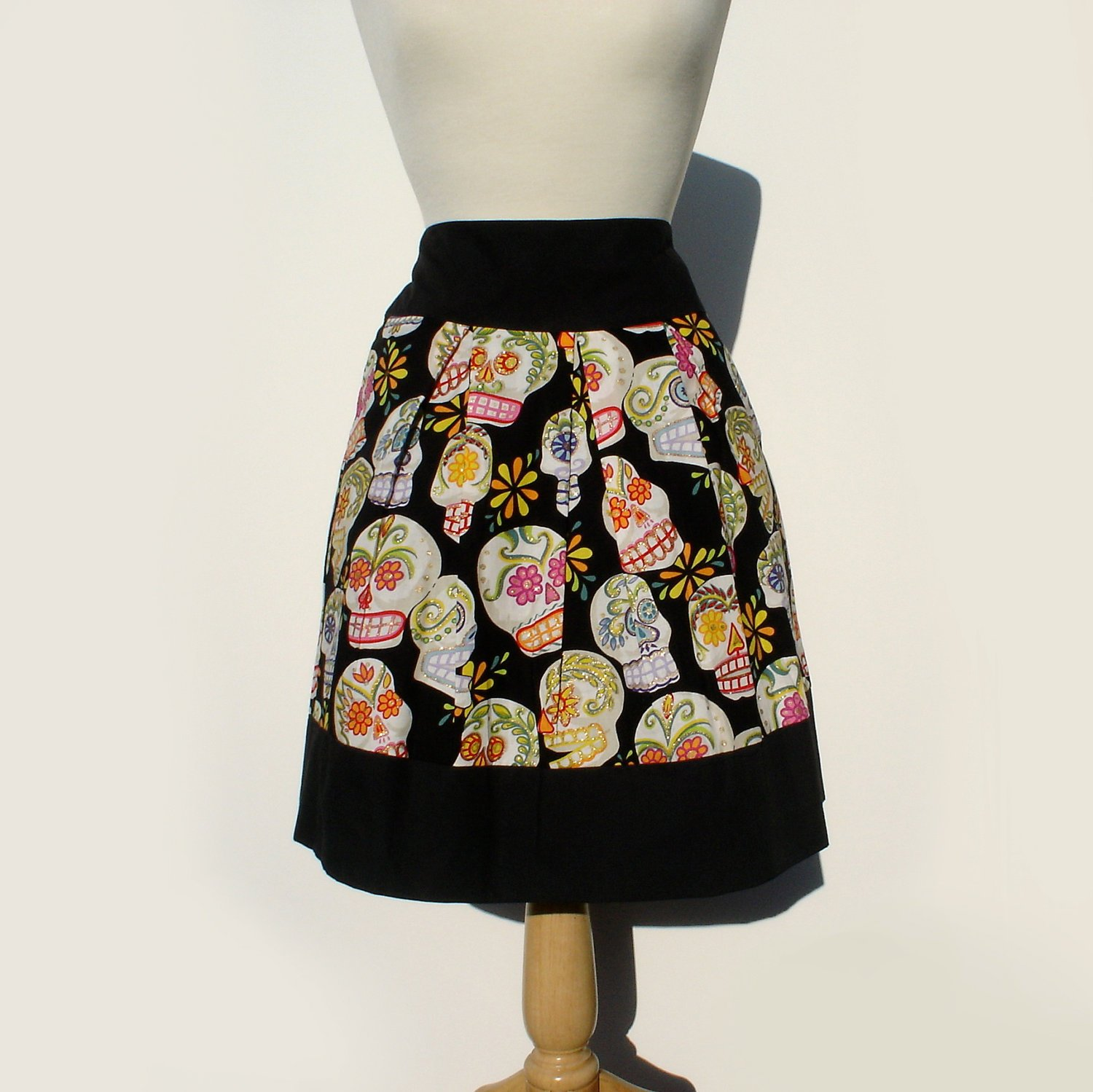 Sugar Skull Pleated Skirt