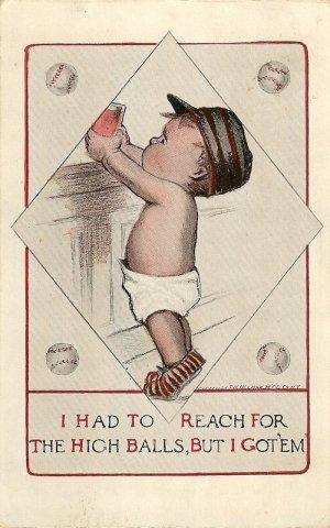 Vintage Comic  Postcard Showing Little Boy Baseball Theme