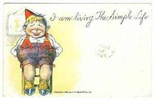 Vintage Comic Postcard  I am Living the Simple Life