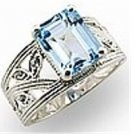 Aquamarine CZ w/ Wide Band