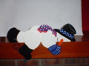 Wooden Snowman Decoration Doortopper