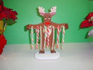 Wooden Reindeer Candycane Holder