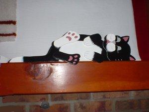 Wooden cat Plaque Railtopper