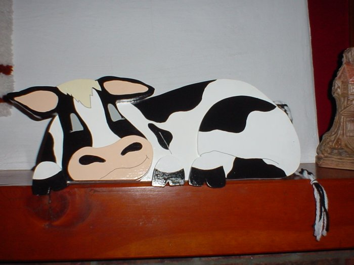 Wooden Cow Plaque Doortopper