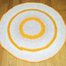 Crochet 27 inch round rag rug mat pad made from up cycled t shirts yellow and lite grey