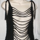 black shredded and laddered long tank top tshirt size medium