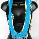 Tshirt scarf with fringe wear as a scarf cowl or long necklace yellow and teal