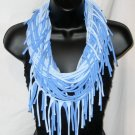 Tshirt scarf with fringe wear as a scarf cowl or long necklace