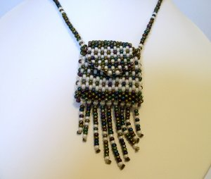 Glass Bead Woven Bag Necklace medicine talisman handcrafted new