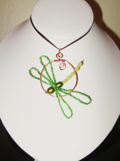 DRAGONFLY Pendant pearls jade glass green Artisan handcratfed Copper new