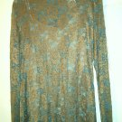 Lace Top with Cami size XL 38 gold floral green teal bronze women stretch new