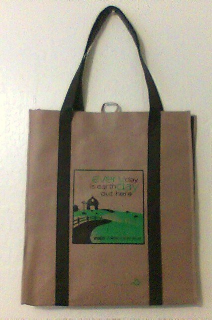 Earth Day XL quality reusable Shopping tote bag flat bottom Tractor Supply folding tan new