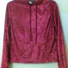 HOODIE Crushed Velour Velvet women Medium misses teens pull over Berry color new