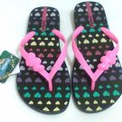 Ipanema Premium Sandals Apliques Flip Flops women size  7.5 / 8 black pink heart new