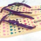 Ipanema Premium Sandals Apliques Flip Flops women size 7.5/8 yellow purple heart valentine new