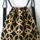 Gold Peace Signs Bag cinch sling backpack cotton sparkle new