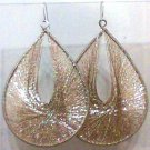 String Art Earrings XL Gold Gold plate wires dangle new