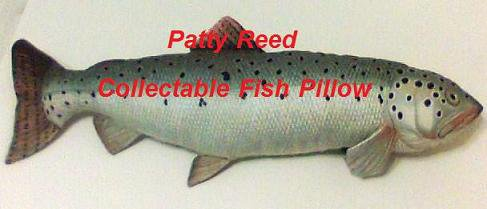 Trout Fish Shaped Fish Pillow stuffed toy bed decor fishing fisherman throw animal Patty Reed new