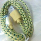 Universal Micro USB Data / Charging Cable  6ft Braided yellow new