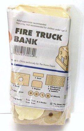 Fire Truck Bank wood build Kit home depot new