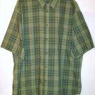 Puritan Button Shirt size Large green plaid short sleeve pocket men